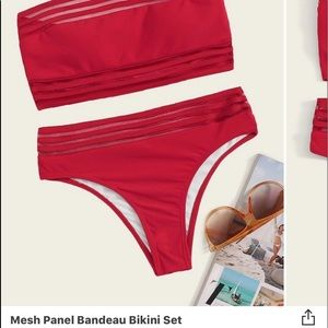 Mesh Panel Bandeau Bikini Set